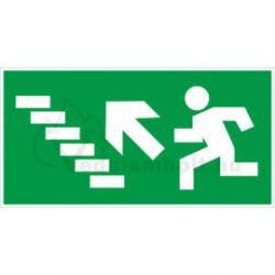 Menekülési útvonal utánvilágító tábla lépcsőn balra fel