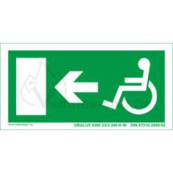 Menekülési útvonal jobbra mozgássérült - utánvilágító tábla