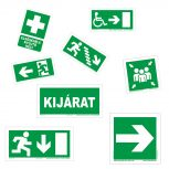 Menekülési útvonal táblák